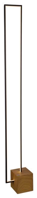 Silva 60 Integrated Led Floor Lamp, Plated Black Wood Finish.