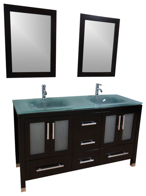 "Bathroom Vanity Glass Top 72"" double sink bathroom vanity - frosted green glass top"