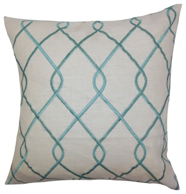 The Pillow Collection - Jolo Geometric Pillow Aqua Blue & Reviews Houzz
