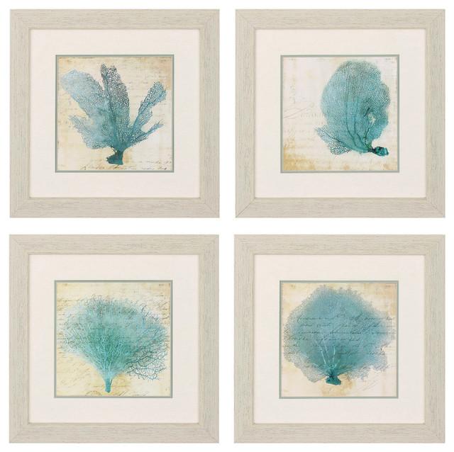 Blue Coral Print, Set Of 4. -1