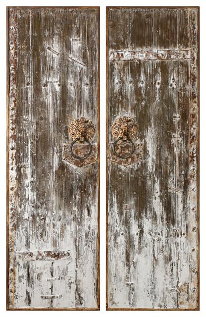 2 Piece Vintage Antique Style Barn Door Wall Art Panel Set