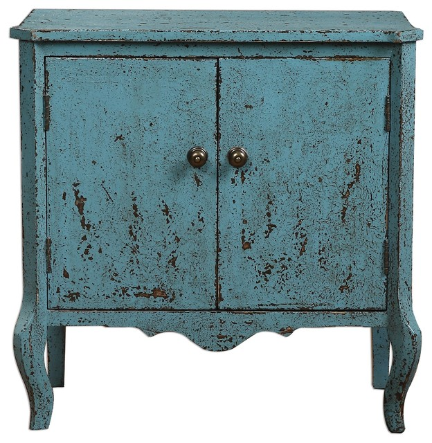 Meka Aged Blue Accent Chest - Farmhouse - Accent Chests And ...