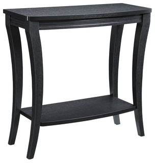 Console Table With Shelf, Black Finish