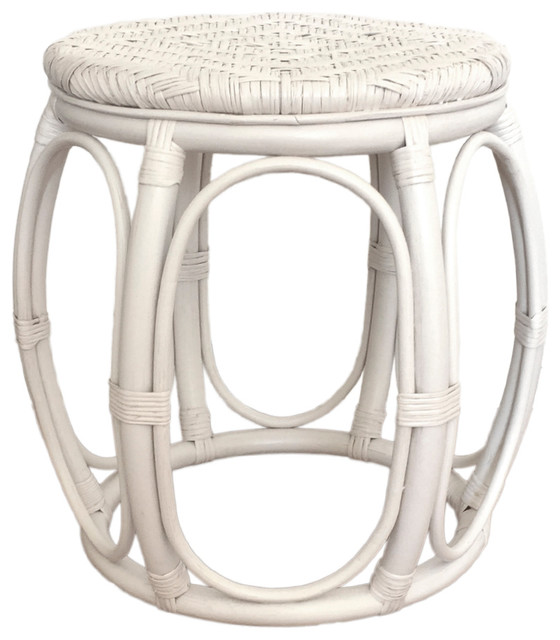 Rattan Round Stool Larry, White Wash, 18""