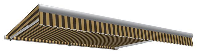 16&x27; Galveston Semi-Cassette Right Motor/remote Retractable Awning, Brown/tan.