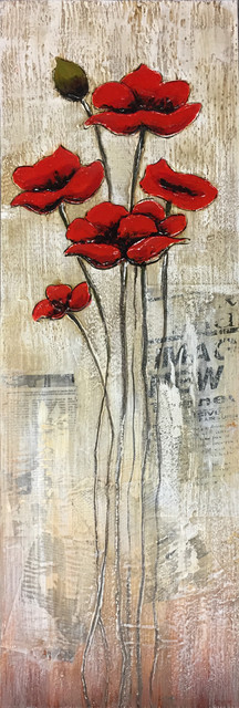 Hand Painted Red Flowers in Water Wall Decor Artwork II