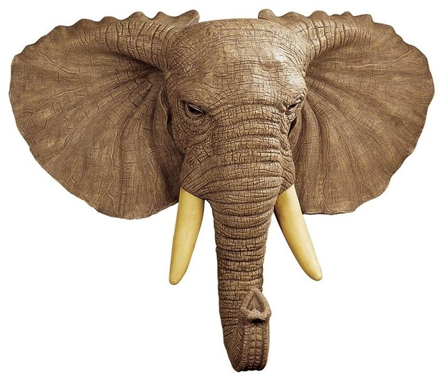 Lord Earl Houghton&x27;s Elephant Wall Sculpture.