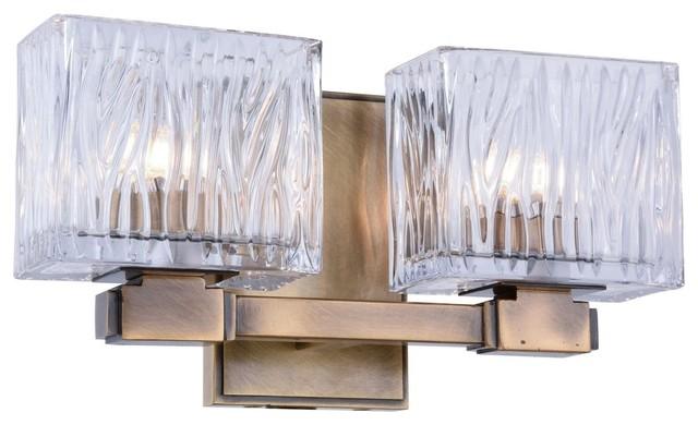Contemporary Urban Bath Vanity Light: URBAN CLASSIC 1516W12LAB Torrent 2-Light Wall Sconce
