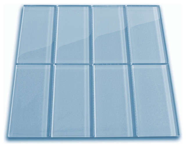 "Sky Blue Glass Subway Tile, 12""x12"" Sheet"