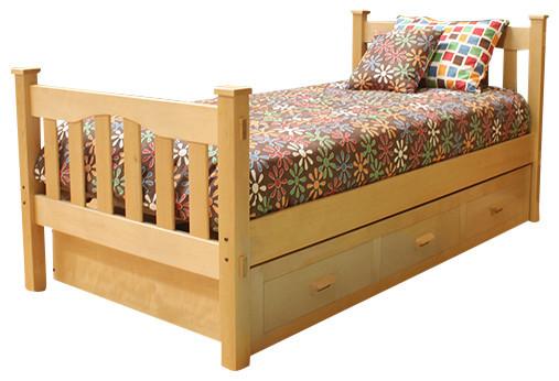 Gabriel Hardwood Trundle Bed Contemporary Kids Beds