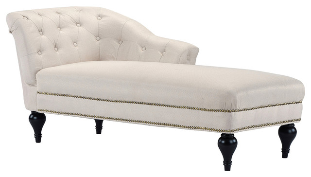 Large Classic Tufted Button Linen Fabric Living Room Chaise Lounge With Nailhead.