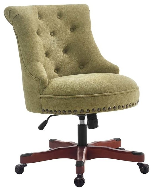 Linon Sinclair Armless Upholstered Office Chair In Aqua