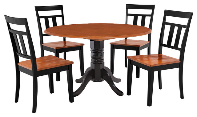 Burlington 5 piece round dining room set kitchen table and for Traditional kitchen table sets