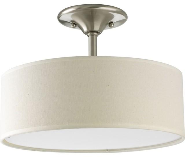 Progress Lighting Inspire 2-Light, Semi-Flush, Brushed Nickel.