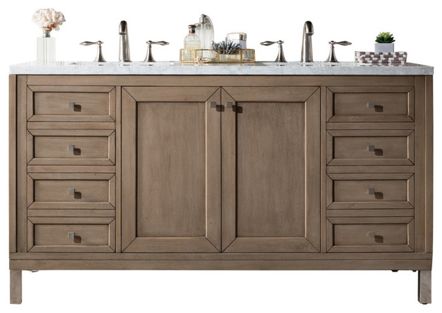 "Syracuse White-Washed Walnut Double Bathroom Vanity, 4 Cm Carrara Marble, 60""."