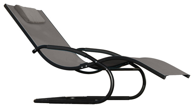 Wave Lounger, Aluminum, Black Chrome.