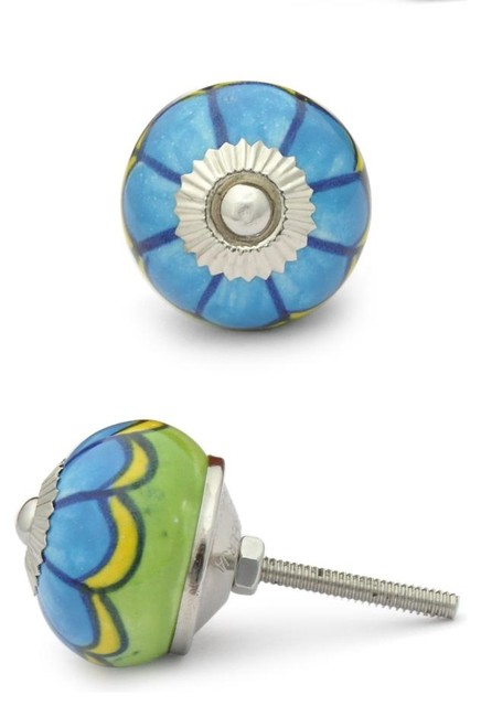 Ceramic Knobs, Turquoise And Green, Set of 2 - Cabinet And Drawer Knobs - by Knobco