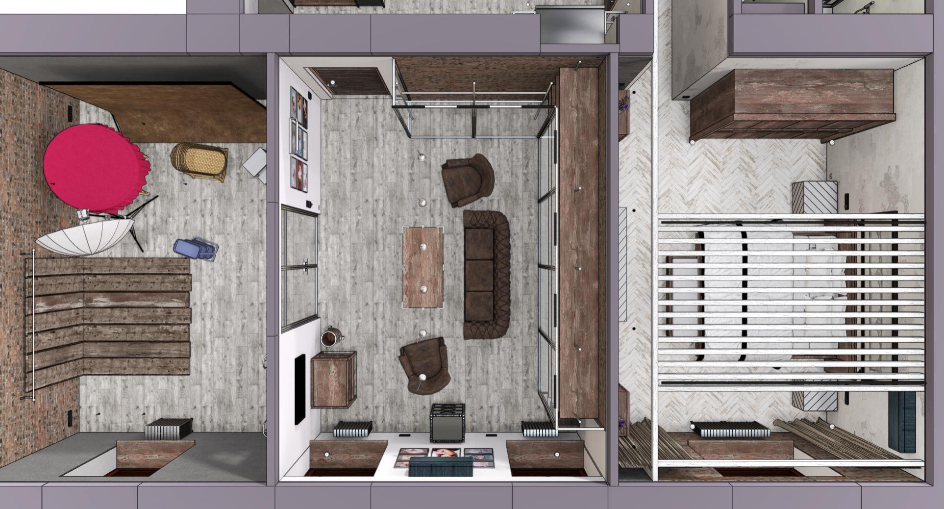 Квартира в Москве в стиле лофт, помещение фотостудии. 2020 г.