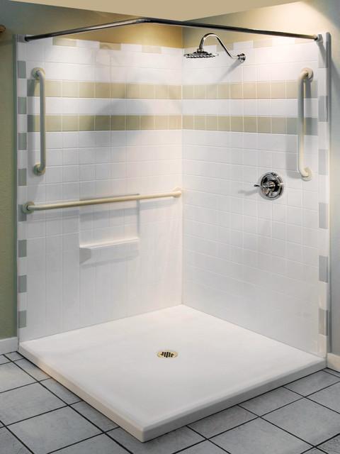 Three Piece Shower with Beveled Threshold