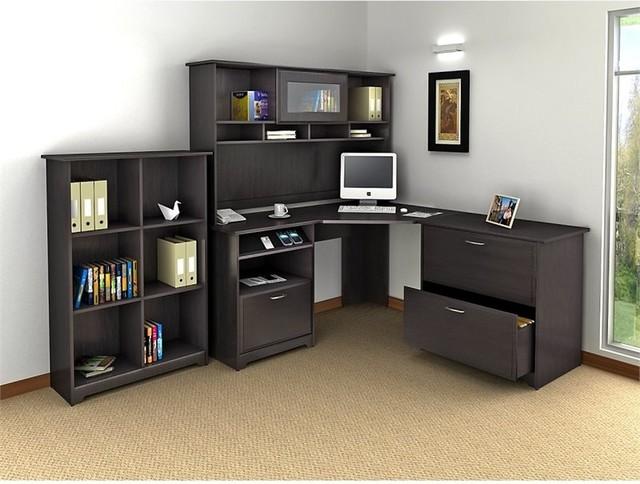 Bush Cabot Desk With Hutch And Lateral File Office Set, Espresso Oak, 3-Piece.
