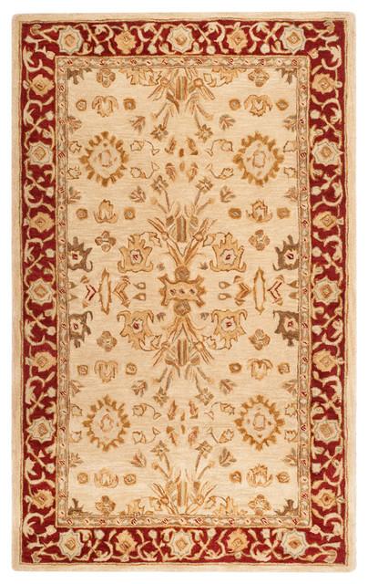 Safavieh Tellam Hand Tufted Rug, Ivory And Red, 5&x27;x8&x27;.