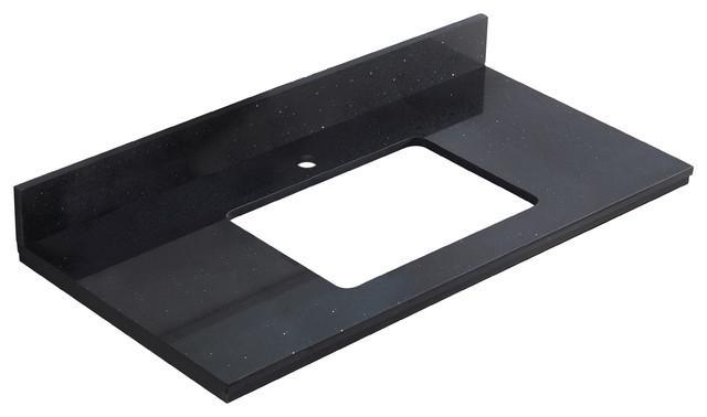 """36""""x18.25"""" Quartz Top, Black Galaxy Color For Single Hole Faucet."""
