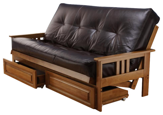 Futon sofa bed with drawers 7 best futon ideas images on for Wooden frame futon sofa bed