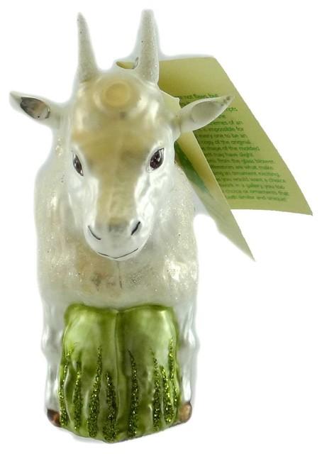 Goat Christmas Ornament.Holiday Ornament Goat Blown Glass Ornament Farm Animal Kid Billy Ha178301
