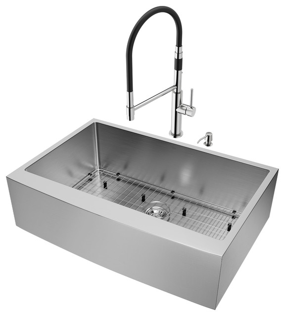 Vigo 33 Bedford Stainless Steel Farmhouse Kitchen Sink With Norwood Faucet