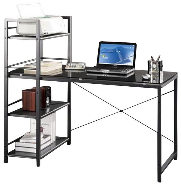 Techni Mobili Tempered Gl Laptop Desk In Black Desks And Hutches
