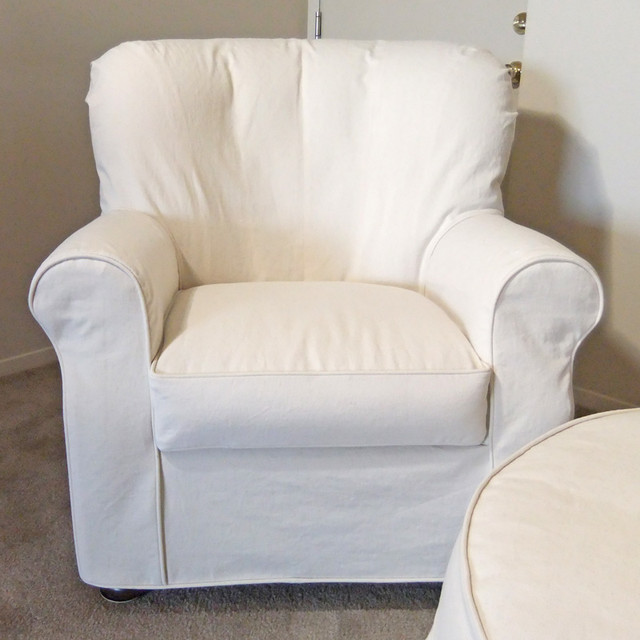 Natural denim armchair slipcover traditional slipcovers and chair covers other for Slipcovers for living room chairs