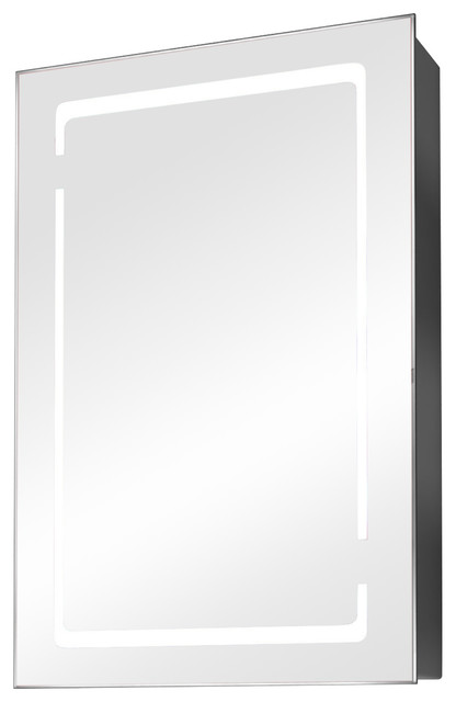 Small Demisting Mirrored Medicine Cabinet With Led Border.
