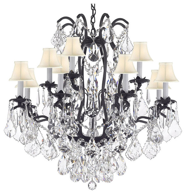 Crystal Chandelier 12-Light, With White Shades