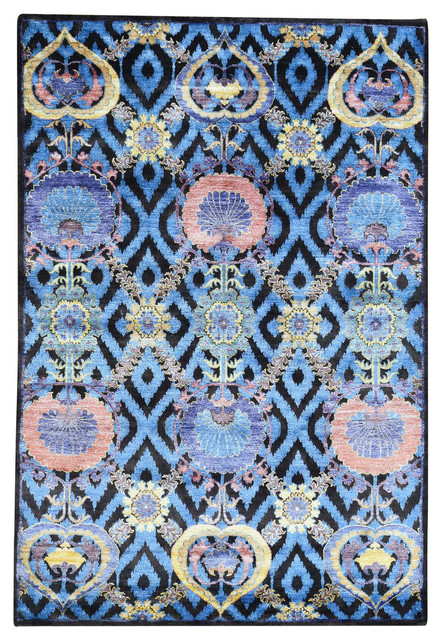 Arts and crafts design hand knotted wool and bamboo silk for Arts and crafts style rug