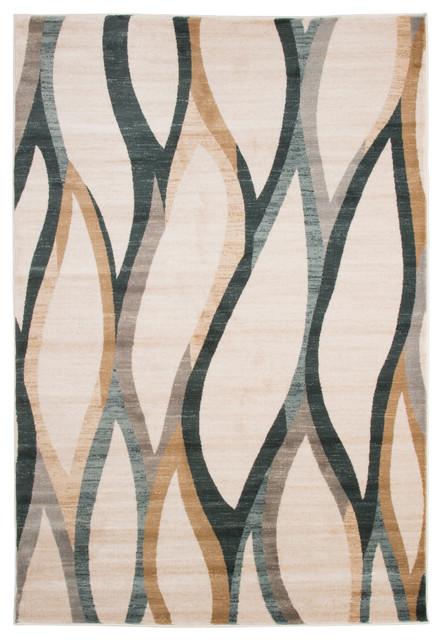 Opus Contemporary Curves Area Rug, Cream, 8' x 10' by Lavish Home