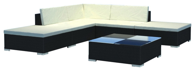 ff4495101c4a vidaXL Garden Lounge Set Poly Rattan Wicker Black Sectional Sofa Couch Seats