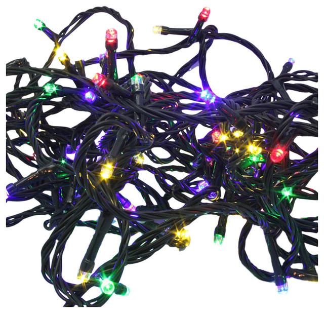 Christmas Led Fairy Lights, 100 Multicoloured Bulbs, 10M Green Cable