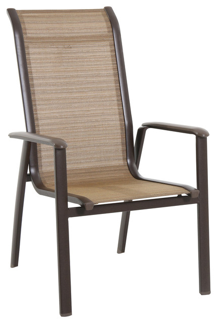 Sunvilla Home Florence Aluminum Stack Sling Chair Brown