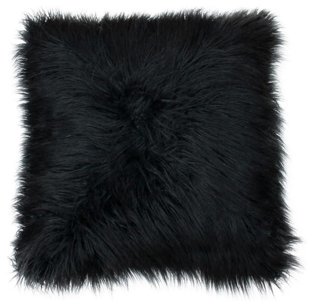 Keller Faux Mongolian Reverse To Micromink Pillow, Jet Black.