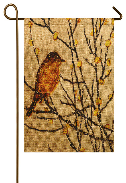Yellow Bird Burlap Garden Flag Rustic Flags And Flagpoles by