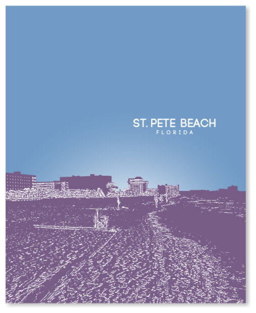 St Pete Beach Florida Skyline Art Poster Contemporary