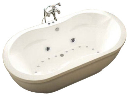 Freestanding Air Jet Tub  Sidewall Air JetsBello Pedestal - Free standing jetted soaking tub