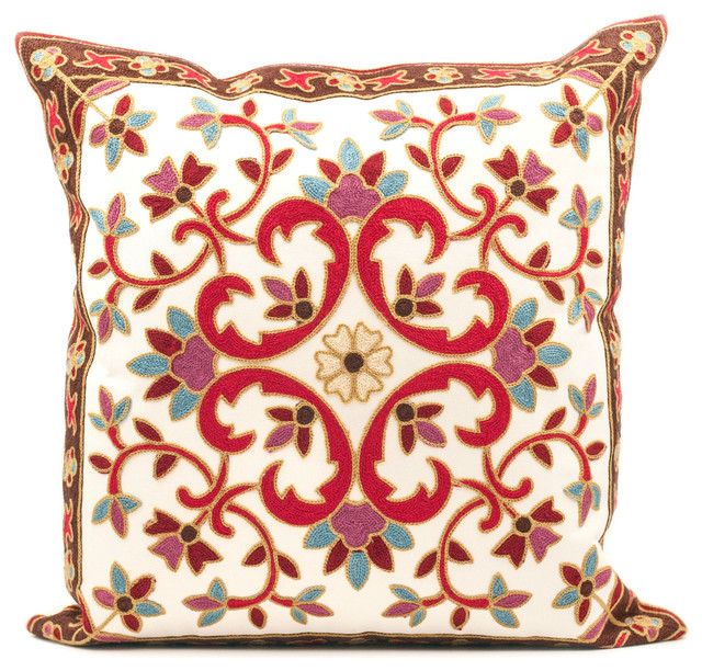 Kashmir Embroidered Throw Pillow Cover.