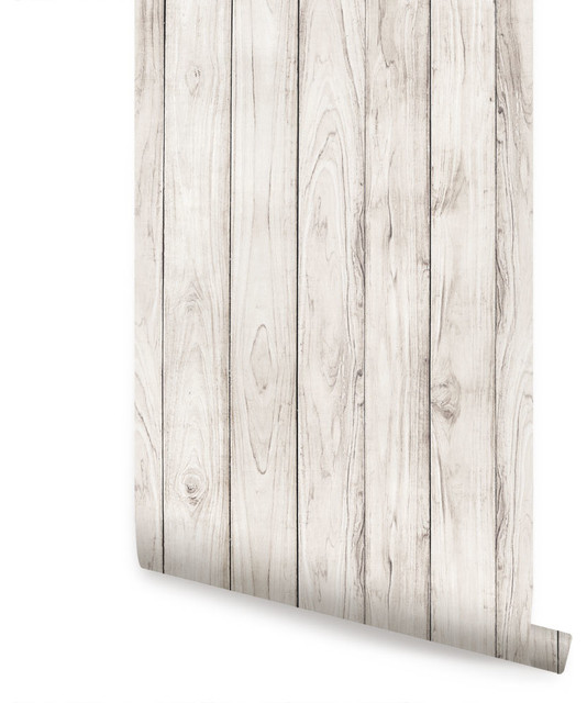 Wood L And Stick Wallpaper White