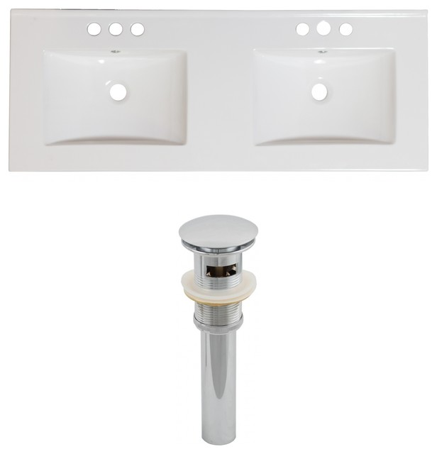 Ceramic Top Set, White Color And Drain.
