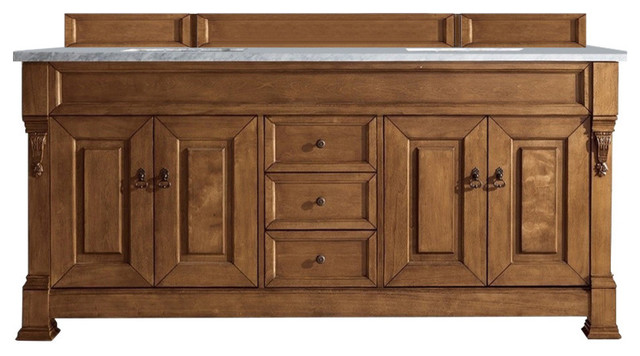 """Brookfield 72"""" Country Oak Double Vanity With 3cm Arctic Fall Solid Surface Top."""