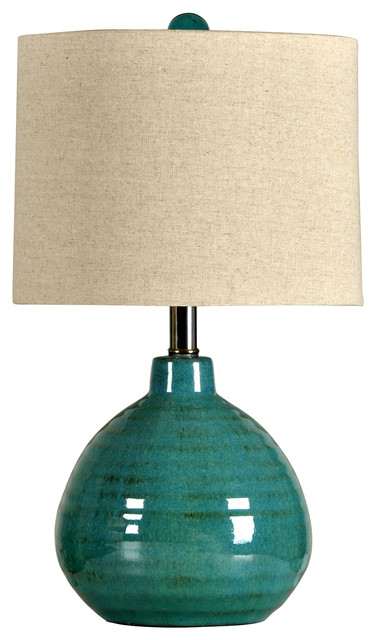 Stylecraft Accent Turquoise Ceramic Table Lamp Transitional