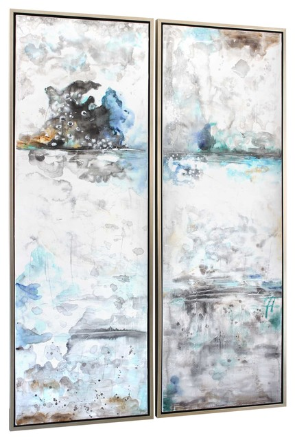 """""""cool Morning Ii"""" Artwork On Canvas, Set Of 2."""