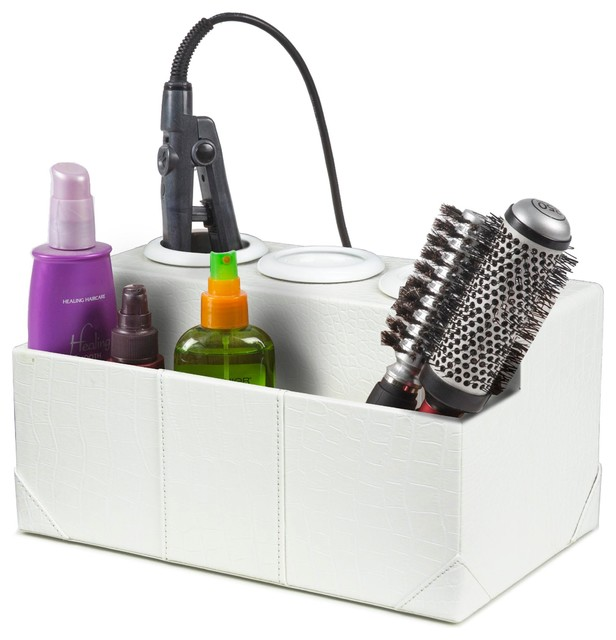 Crocodile Leatherette Hair Styling Station White Without