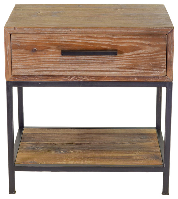 Elegant Reclaimed 1 Drawer End Table Transitional Side Tables And End Tables By The